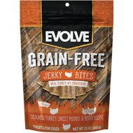 Evolve Turkey, Pea & Berry Recipe Jerky Bites Grain-Free Dog Treats, 12-oz bag