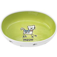 PetRageous Designs Silly Kitty Oval Cat Dish, White & Lime Green