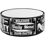 PetRageous Designs Daily Menu Paw Design Pet Bowl, Black/White, 3.5 cup