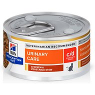 Hill's Prescription Diet c/d Multicare Urinary Care Stress Chicken & Vegetable Stew Canned Cat Food, 2.9-oz, case of 24