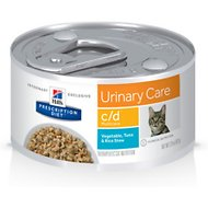 Hill's Prescription Diet c/d Multicare Urinary Care Vegetable, Tuna & Rice Stew Canned Cat Food, 2.9-oz, case of 24