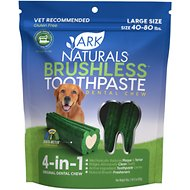 Ark Naturals Brushless Toothpaste Large Dental Dog Chews, 18-oz bag