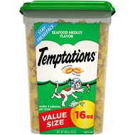 Temptations Seafood Medley Flavor Cat Treats, 16-oz tub