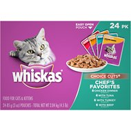 Whiskas Choice Cuts Chef's Favorites Cat Food Pouches, 3-oz, case of 24