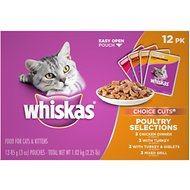 Whiskas Choice Cuts Poultry Selections Cat Food Pouches, 3-oz, case of 12