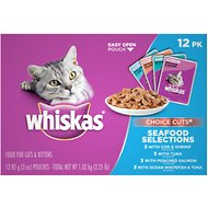 Whiskas Choice Cuts Seafood Selections Cat Food Pouches, 3-oz, case of 12