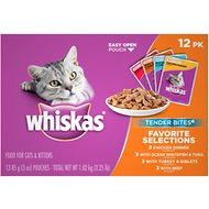 Whiskas Tender Bites Favorite Selections Cat Food Pouches