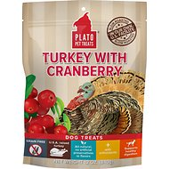 Plato Real Strips Turkey with Cranberry Dog Treats, 12-oz bag