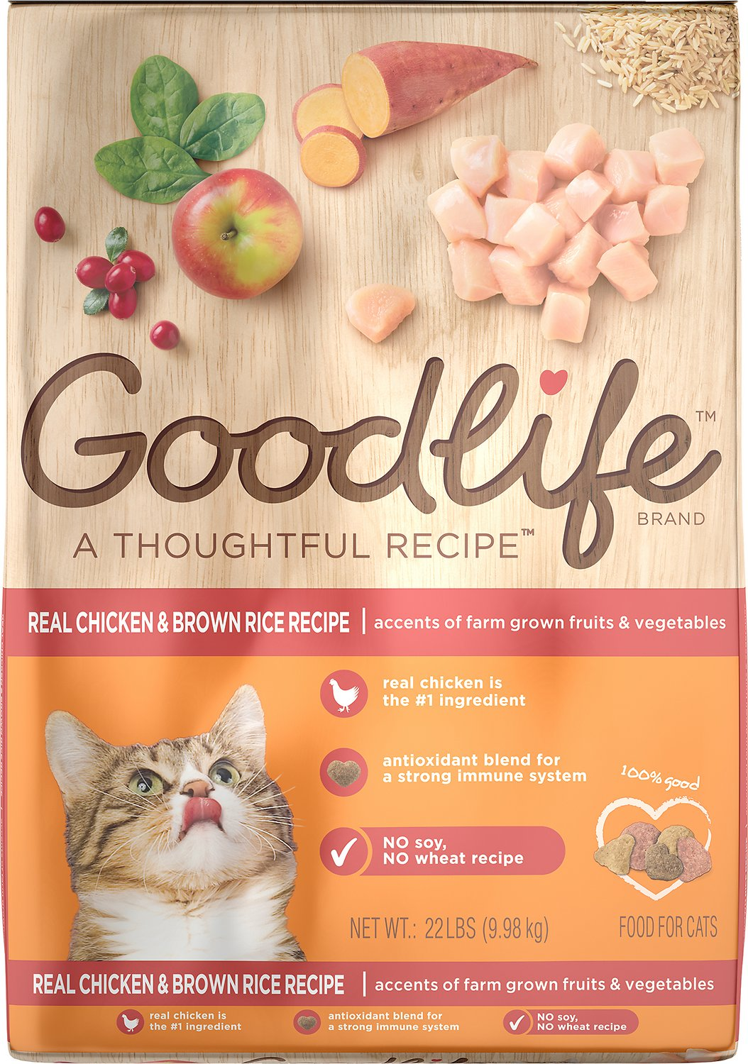 Goodlife real chicken brown rice recipe dry cat food 22 lb bag video forumfinder Images