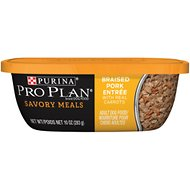 Purina Pro Plan Savory Meals Braised Pork Entree with Real Carrots Wet Dog Food, 10-oz tub, case of 8