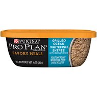 Purina Pro Plan Savory Meals Grilled Ocean Whitefish Entree with Brown Rice Wet Dog Food, 10-oz tub, case of 8