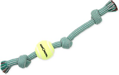 Mammoth Braided Tug with Tennis Ball for Dogs, Color Varies