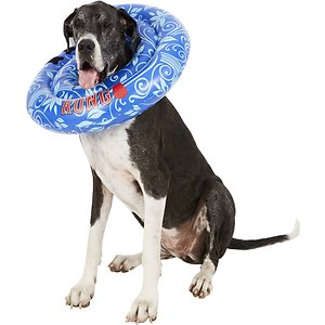 KONG Cushion for Dogs & Cats, X-Large; The KONG cushion provides relaxing comfort for pets during recovery and its easy-clean material appeals to pet parents like you. This inflatable, air-cushioned collar for injuries, rashes, and post-surgery is fully adjustable. KONG Cushion offers better range of motion than a traditional cone and will not interfere with pets' eating or drinking.