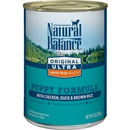Natural Balance Original Ultra Whole Body Health Puppy Formula Chicken, Duck & Brown Rice Canned Dog Food, 13-oz, case of 12