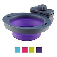 Dexas Popware for Pets Collapsible Kennel Pet Bowl, Gray/Purple, Small