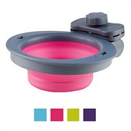 Dexas Popware for Pets Collapsible Kennel Pet Bowl, Gray/Pink, Small