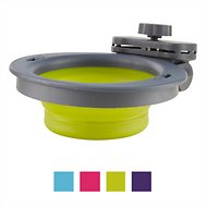 Dexas Popware for Pets Collapsible Kennel Pet Bowl, Gray/Green, Small