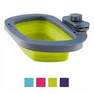Dexas Popware for Pets Collapsible Kennel Pet Bowl, Gray/Green, Large