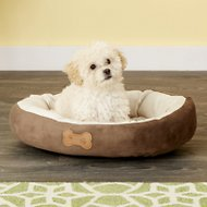 Aspen Pet Oval Bone Applique Dog Bed, Chocolate Brown