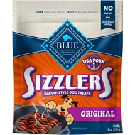 Blue Buffalo Sizzlers with Real Pork Bacon-Style Dog Treats, 6-oz bag