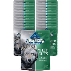 Blue Buffalo Wilderness Trail Toppers Wild Cuts Chunky Duck Bites in Hearty Gravy Grain-Free Dog Food Topper, 3-oz, case of 24; These delicious Trail Toppers make any meal a special treat. Made with delicious bites of real duck steeped in irresistible gravy, this Wild Cuts meal topper is made to satisfy the spirit of the wolf that lives on in your dog. Perfect for adding to your dog\\\'s favorite Blue Buffalo dry food at meal time or as a savory snack, these pouches of pure canine bliss are sure to cater to their inner carnivore. Plus, they\\\'re made with only the finest, natural ingredients.