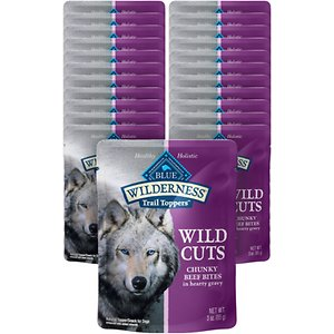 Blue Buffalo Wilderness Trail Toppers Wild Cuts Chunky Beef Bites in Hearty Gravy Grain-Free Dog Food Topper, 3-oz, case of 24; Flavor up your furry friend's food with Blue Buffalo Wilderness Trail Toppers Wild Cuts High Protein Grain Free, Natural Wet Dog Food. Paw-fect for your doggie dude, this irresistibly tasty wet food topper is made using only the finest naturally grain and gluten-free ingredients and packaged in a handy, single-serve pouch. It starts with high-quality protein from tender morsels of real duck steeped in a hearty gravy and enhanced with vitamins and minerals. A flavorful addition to your furry friend's next meal, this high-protein dog food topper is made with wholesome ingredients that do not contain any grain, gluten, by-product meals, corn, wheat, soy, artificial flavors or preservatives.