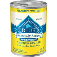 Blue Buffalo Homestyle Recipe Healthy Weight Chicken Dinner with Garden Vegetables & Brown Rice Canned Dog Food, 12.5-oz, case of 12