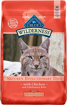 5. Blue Buffalo Wilderness Hairball & Weight Control Grain-Free Chicken Dry Food for Indoor Cats