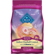 Blue Buffalo Indoor Hairball Control Chicken & Brown Rice Recipe Mature Dry Cat Food, 7-lb bag