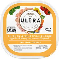 Nutro Ultra Chicken & Salmon Entree with Tomatoes & Spinach Toppers Pate Dog Food Trays, 3.5-oz, case of 24