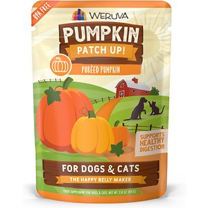 Weruva Pumpkin Patch Up! Dog & Cat Food Supplement Pouches, 2.80-oz, case of 12; Make your pet\\\'s belly happy with Weruva Pumpkin Patch Up! This delicious treat is a pumpkin-based food supplement for dogs and cats to support digestion and keep your pet happy from nose to tail. Made with two simple ingredients--pumpkin and water--the delicious broth adds digestive support and antioxidants into their day, boosting their gut health to make \\\