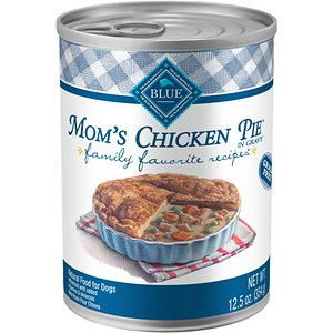 Blue Buffalo Family Favorite Grain-Free Recipes Mom\\\'s Chicken Pie Canned Dog Food, 12.5-oz, case of 12; Treat your sweet sidekick to the supper he deserves with Blue Buffalo Family Favorites Natural Adult Wet Dog Food. Paw-fect for your doggie dude, this irresistibly tasty wet food is made using only the finest natural ingredients. It starts with high-quality protein from tender chunks of chicken steeped in a hearty gravy, packed with garden veggies, then enhanced with vitamins and minerals. Formulated to support muscle maintenance and the other nutritional needs of your adult amigo, the exclusively wholesome ingredients do not contain any by-product meals, corn, wheat, soy, artificial flavors or preservatives.