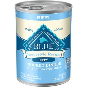 Blue Buffalo Homestyle Recipe Puppy Chicken Dinner with Garden Vegetables Canned Dog Food, 12.5-oz, case of 12