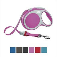 Flexi Vario Retractable Tape Dog Leash, Pink, Large, 16-ft