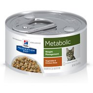 Hill's Prescription Diet Metabolic Weight Management Vegetable & Chicken Stew Canned Cat Food, 2.9-oz, case of 24