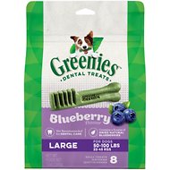 Greenies Bursting Blueberry Large Dental Dog Treats, 8 count