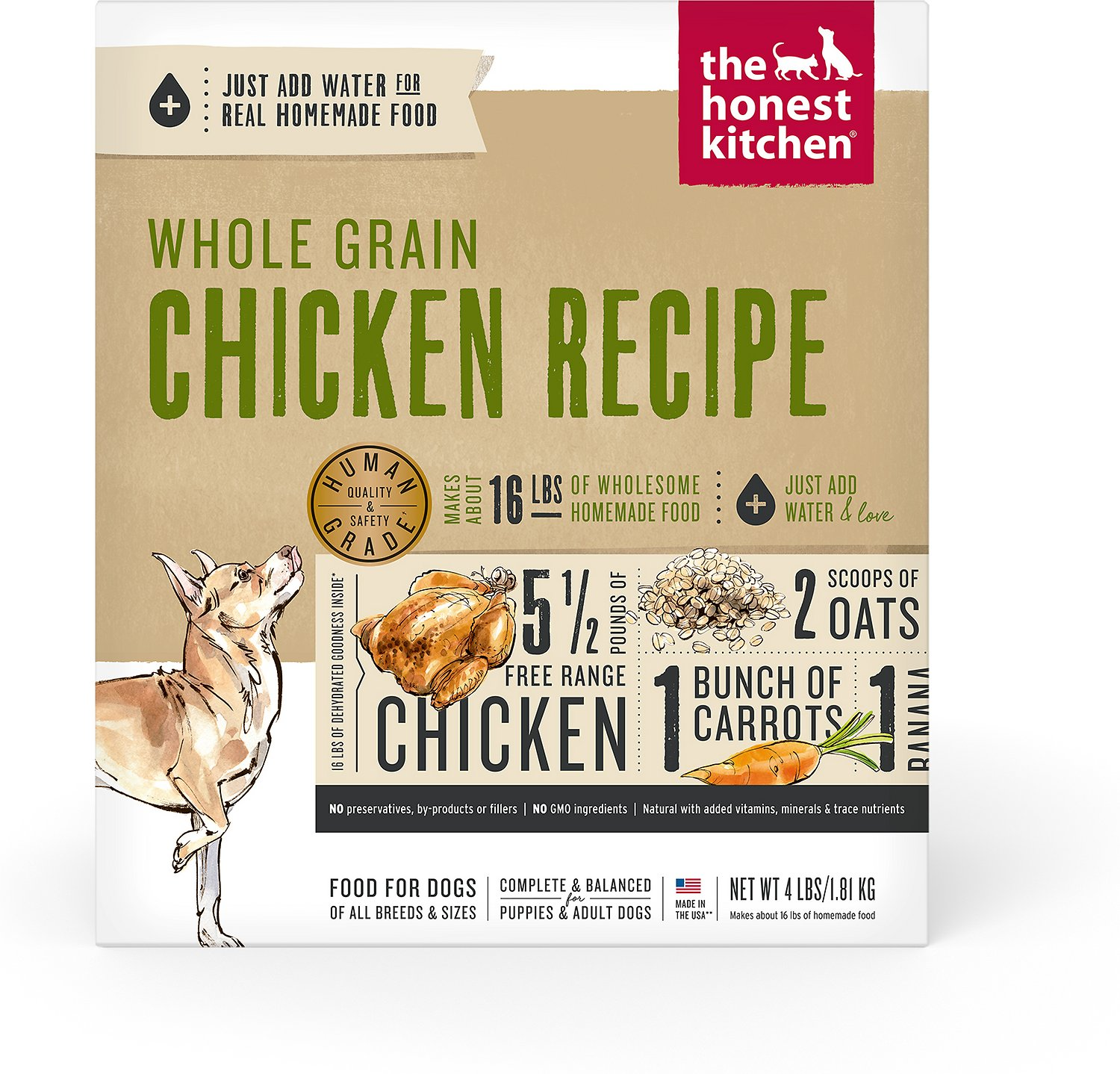 The Honest Kitchen Whole Grain Chicken Recipe Dehydrated Dog Food 4 Lb Box