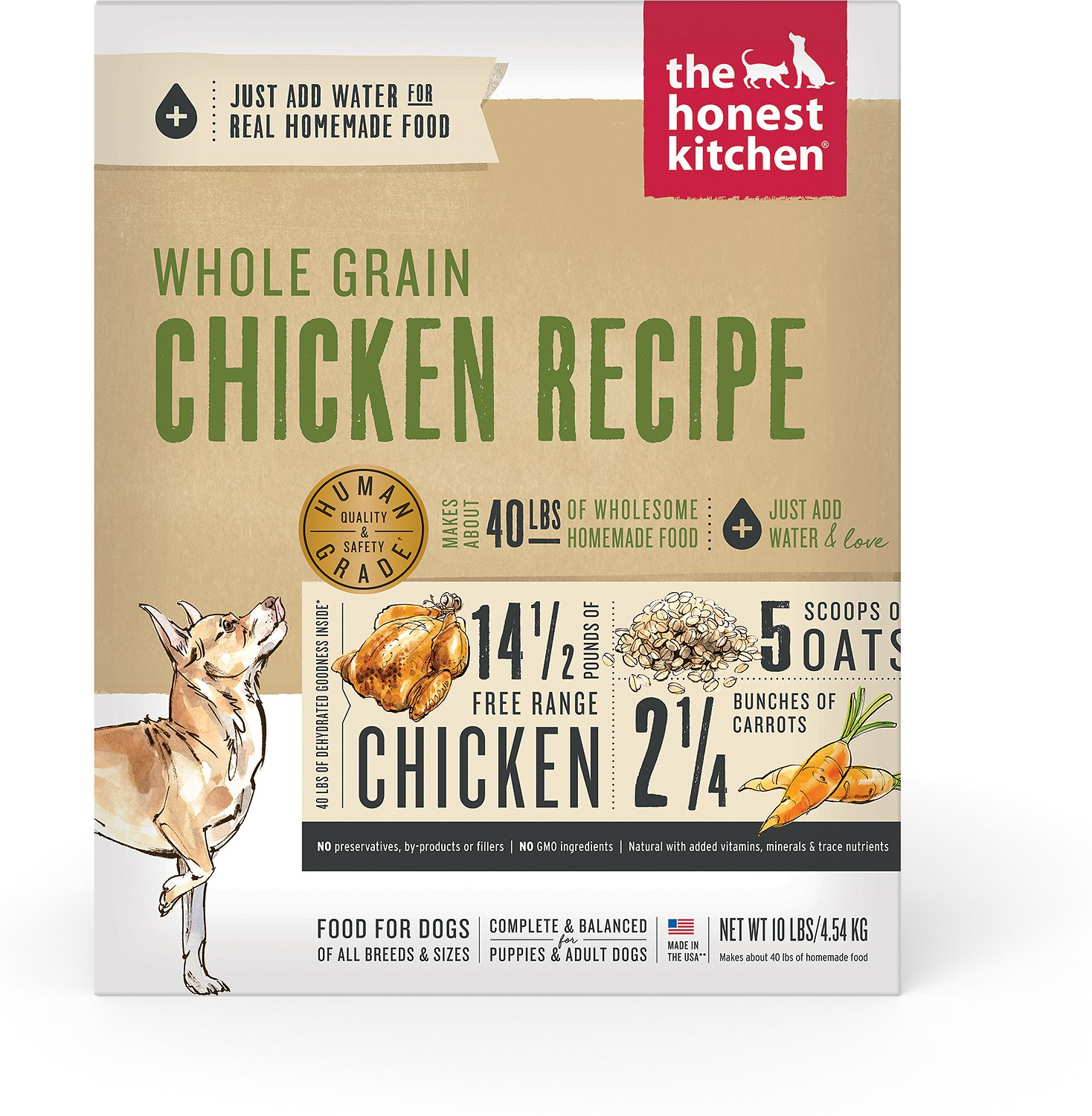 The Honest Kitchen Whole Grain Chicken Recipe Dehydrated Dog Food ...