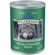 Blue Buffalo Wilderness Duck & Chicken Grill Grain-Free Canned Dog Food, 12.5-oz, case of 12