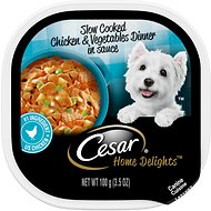 Cesar Home Delights Slow Cooked Chicken & Vegetables Dinner in Sauce Dog Food Trays, 3.5-oz, case of 24