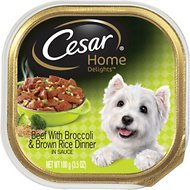 Cesar Home Delights Beef with Broccoli Dog Food Trays, 3.5-oz, case of 24