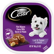 Cesar Loaf & Topper in Sauce Filet Mignon Flavor with Bacon & Potato Dog Food Trays, 3.5-oz, case of 24
