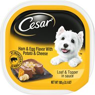 Cesar Loaf & Topper in Sauce Ham & Egg Flavor with Potato & Cheese Dog Food Trays, 3.5-oz case of 24
