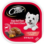 Cesar Loaf & Topper in Sauce Angus Beef Flavor with Bacon & Cheese Dog Food Trays, 3.5-oz, case of 24