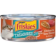 Friskies Tasty Treasures Chicken & Tuna Dinner in Gravy Canned Cat Food, 5.5-oz, case of 24