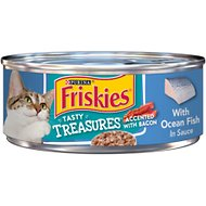 Friskies Tasty Treasures with Ocean Fish in Sauce Canned Cat Food, 5.5-oz, case of 24