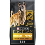 Purina Pro Plan Bright Mind Adult 7+ Chicken & Rice Formula Dry Dog Food, 5-lb bag