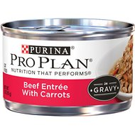 Purina Pro Plan Beef Entrée with Carrots in Gravy Canned Cat Food, 3-oz, case of 24