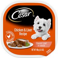 Cesar Classic Loaf in Sauce Chicken & Liver Recipe Dog Food Trays, 3.5-oz, case of 24