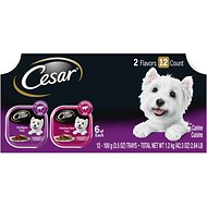 Cesar Classic Loaf in Sauce Filet Mignon & Porterhouse Steak Flavors Variety Pack Dog Food Trays, 3.5-oz, case of 12